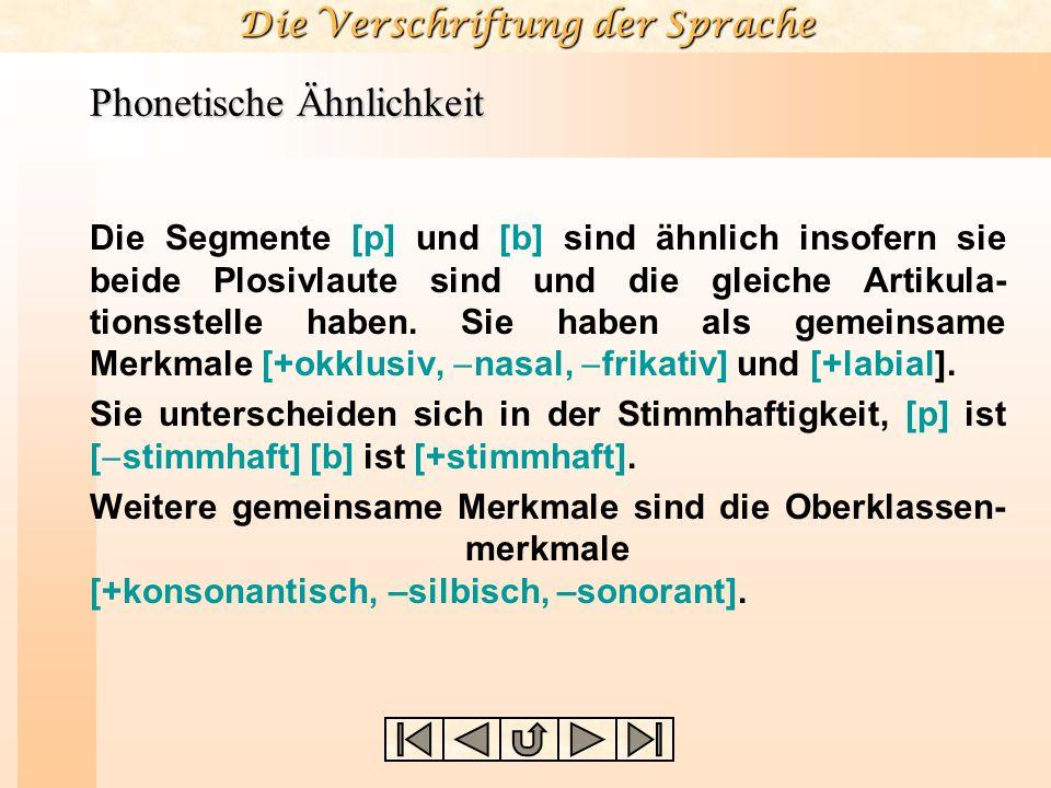 Die Verschriftung der Sprache Phonetische Ähnlichkeit Die Segmente [p] und [b] sind ähnlich insofern sie beide Plosivlaute sind und die gleiche Artiku