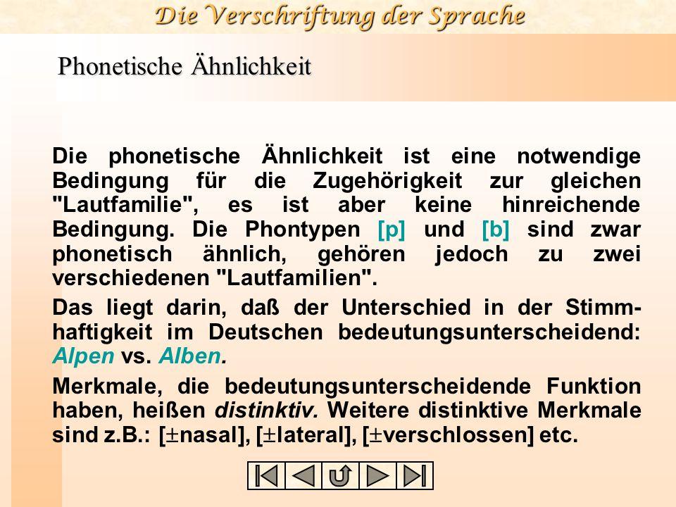 Die Verschriftung der Sprache Phonetische Ähnlichkeit Die phonetische Ähnlichkeit ist eine notwendige Bedingung für die Zugehörigkeit zur gleichen Lautfamilie , es ist aber keine hinreichende Bedingung.