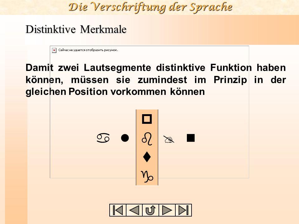 Die Verschriftung der Sprache Distinktive Merkmale Damit zwei Lautsegmente distinktive Funktion haben können, müssen sie zumindest im Prinzip in der g