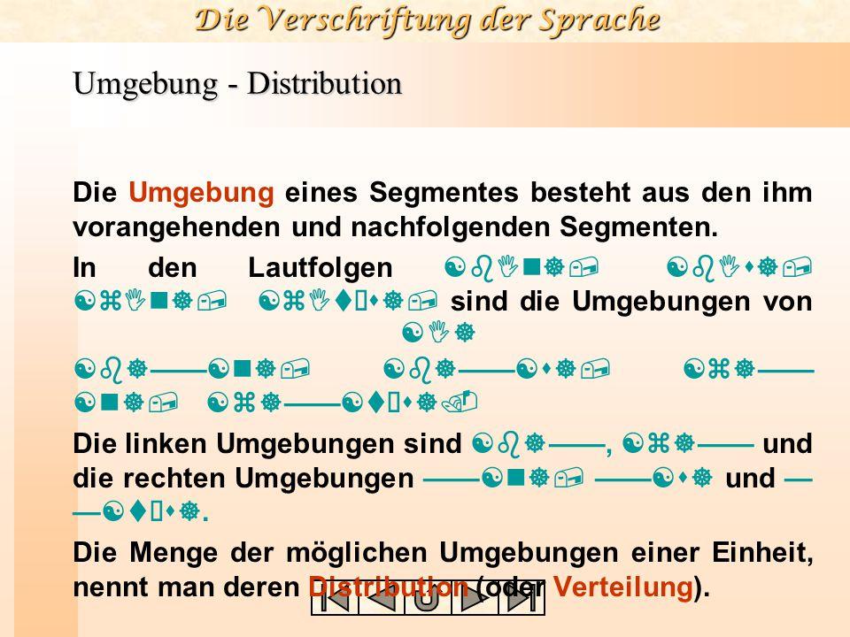 Die Verschriftung der Sprache Umgebung - Distribution Die Umgebung eines Segmentes besteht aus den ihm vorangehenden und nachfolgenden Segmenten. In d