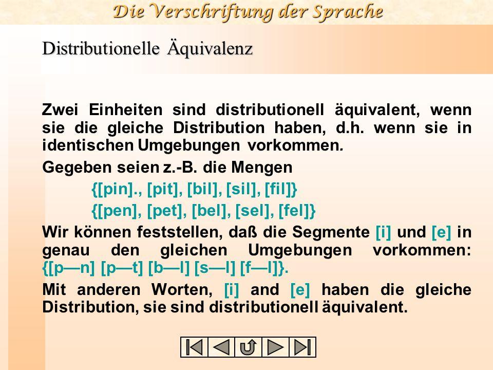 Die Verschriftung der Sprache Distributionelle Äquivalenz Zwei Einheiten sind distributionell äquivalent, wenn sie die gleiche Distribution haben, d.h.