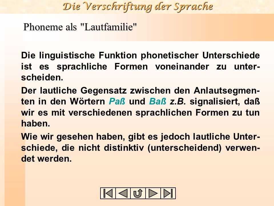 Die Verschriftung der Sprache Phoneme als Lautfamilie Die linguistische Funktion phonetischer Unterschiede ist es sprachliche Formen voneinander zu unter- scheiden.