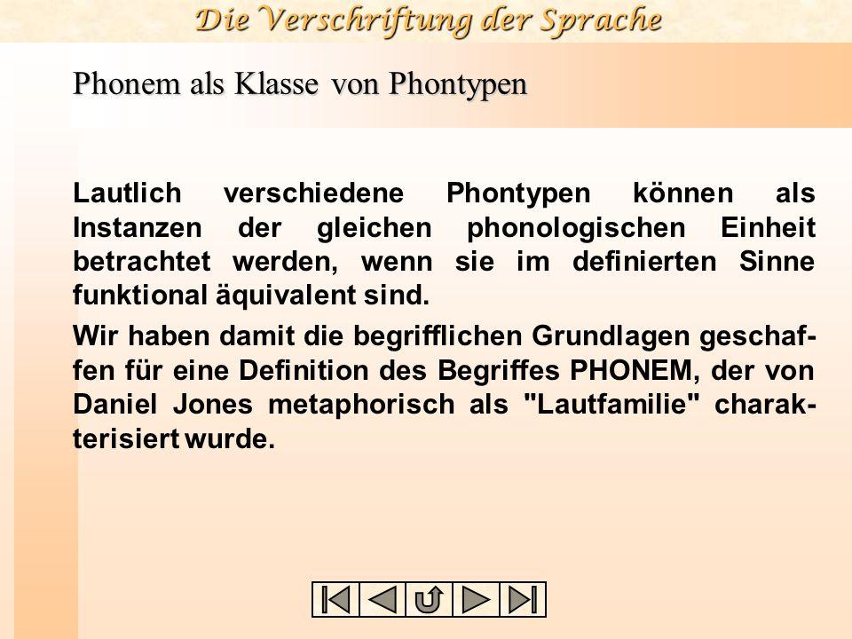 Die Verschriftung der Sprache Phonem als Klasse von Phontypen Lautlich verschiedene Phontypen können als Instanzen der gleichen phonologischen Einheit betrachtet werden, wenn sie im definierten Sinne funktional äquivalent sind.