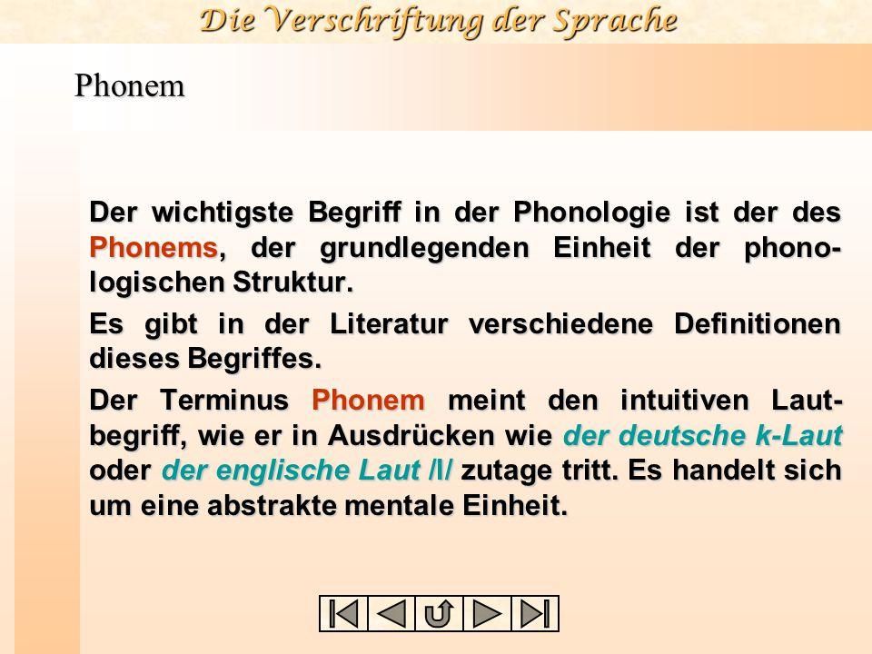 Die Verschriftung der Sprache Phonem Der wichtigste Begriff in der Phonologie ist der des Phonems, der grundlegenden Einheit der phono- logischen Stru