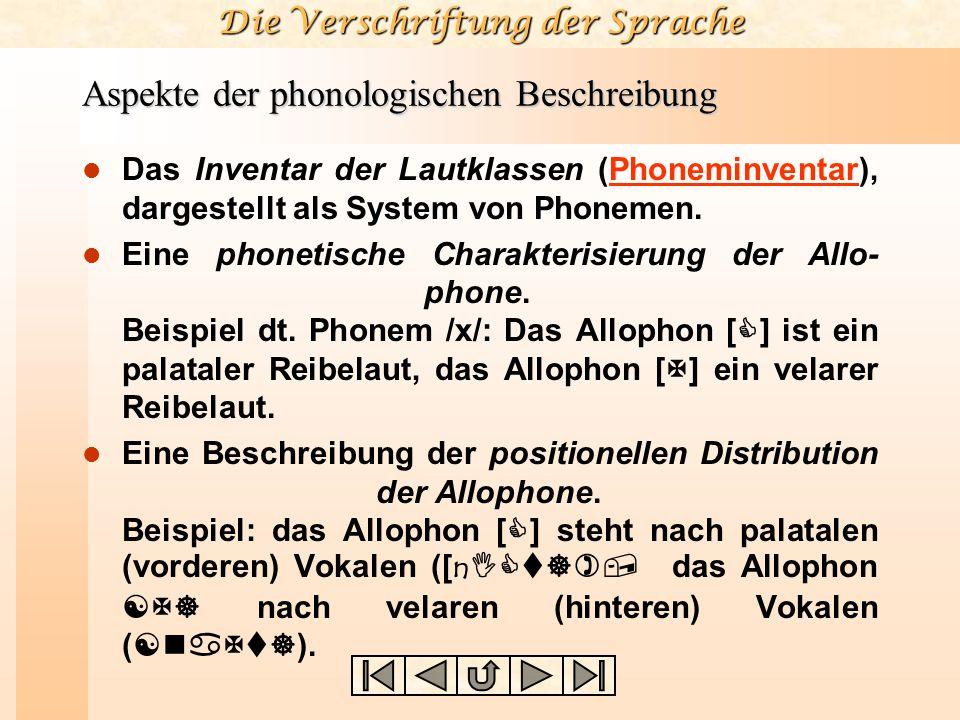 Die Verschriftung der Sprache Aspekte der phonologischen Beschreibung Das Inventar der Lautklassen (Phoneminventar), dargestellt als System von Phonemen.Phoneminventar Eine phonetische Charakterisierung der Allo- phone.