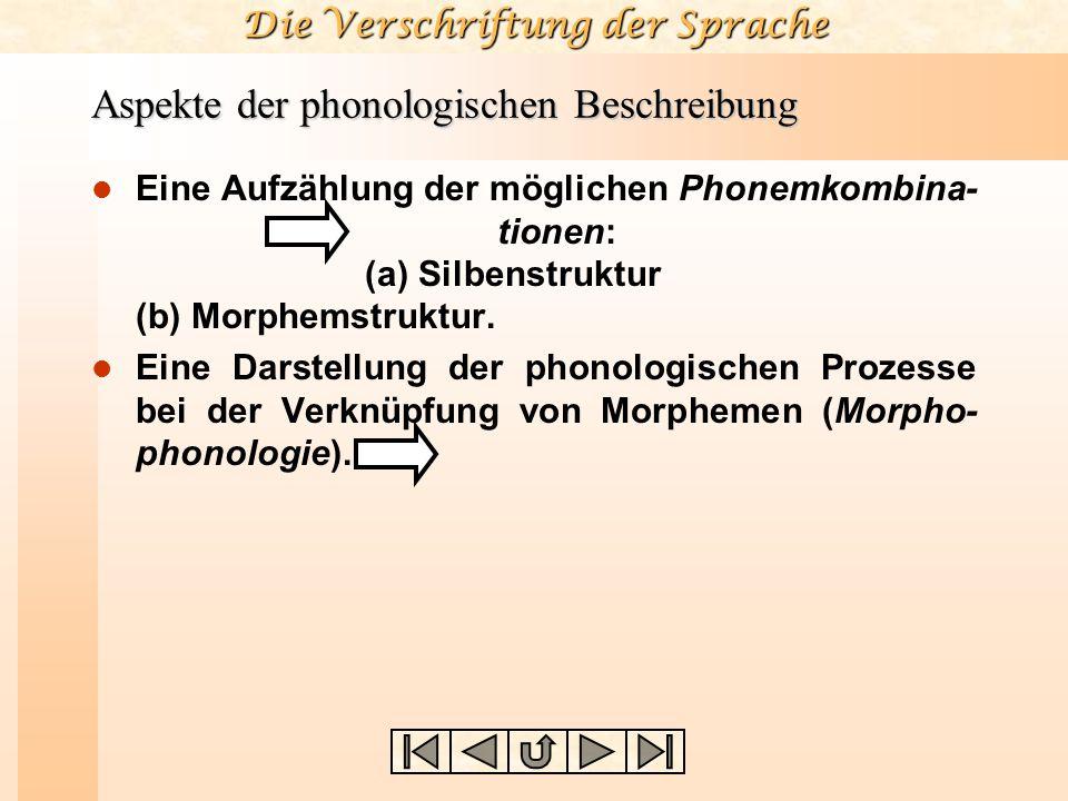 Die Verschriftung der Sprache Aspekte der phonologischen Beschreibung Eine Aufzählung der möglichen Phonemkombina- tionen: (a) Silbenstruktur (b) Morphemstruktur.