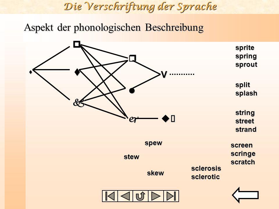 Die Verschriftung der Sprache Aspekt der phonologischen Beschreibung l r V spt k juù sprite spring sprout split splash string street strand screen scr