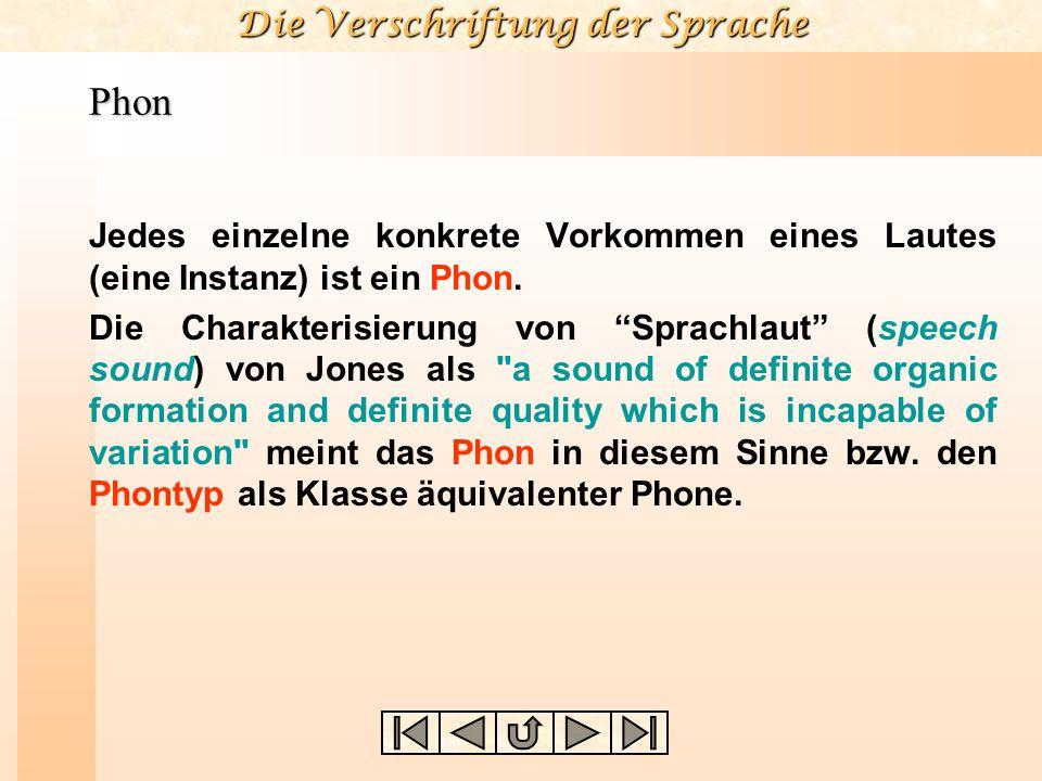 """Die Verschriftung der Sprache Phon Jedes einzelne konkrete Vorkommen eines Lautes (eine Instanz) ist ein Phon. Die Charakterisierung von """"Sprachlaut"""""""
