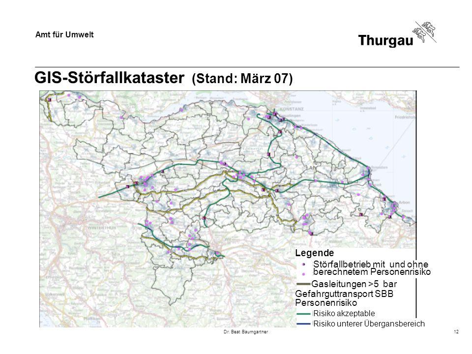 Amt für Umwelt Dr. Beat Baumgartner12 GIS-Störfallkataster (Stand: März 07) Gasleitungen >5 bar Störfallbetrieb mit und ohne berechnetem Personenrisik