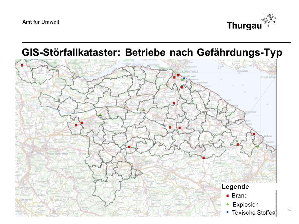 Amt für Umwelt Dr. Beat Baumgartner13 GIS-Störfallkataster: Betriebe nach Gefährdungs-Typ Brand Toxische Stoffe Explosion Legende