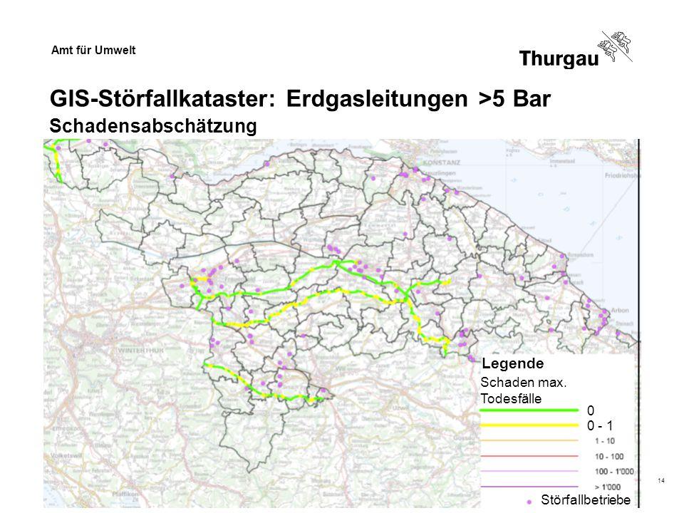Amt für Umwelt Dr. Beat Baumgartner14 Schaden max. Todesfälle 0 - 1 Legende 0 GIS-Störfallkataster: Erdgasleitungen >5 Bar Schadensabschätzung Störfal