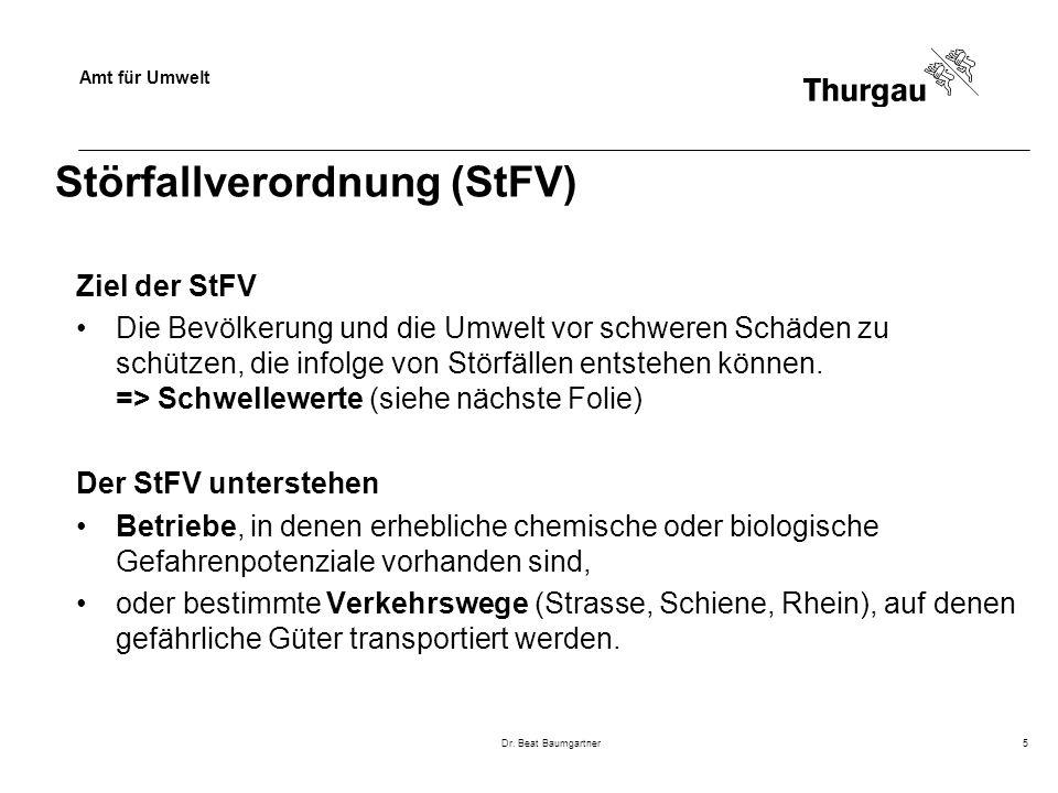 Amt für Umwelt Dr. Beat Baumgartner5 Störfallverordnung (StFV) Ziel der StFV Die Bevölkerung und die Umwelt vor schweren Schäden zu schützen, die info
