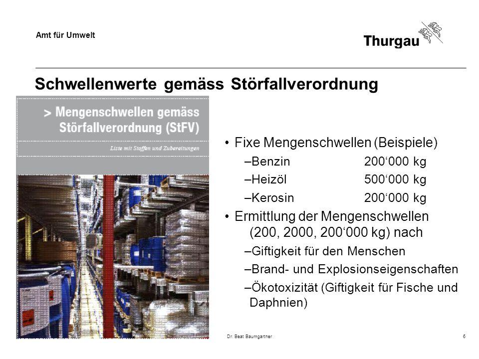 Amt für Umwelt Dr. Beat Baumgartner6 Schwellenwerte gemäss Störfallverordnung Fixe Mengenschwellen (Beispiele) –Benzin200'000 kg –Heizöl500'000 kg –Ke