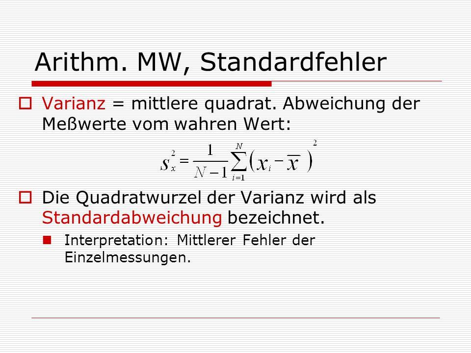Arithm. MW, Standardfehler  Varianz = mittlere quadrat. Abweichung der Meßwerte vom wahren Wert:  Die Quadratwurzel der Varianz wird als Standardabw