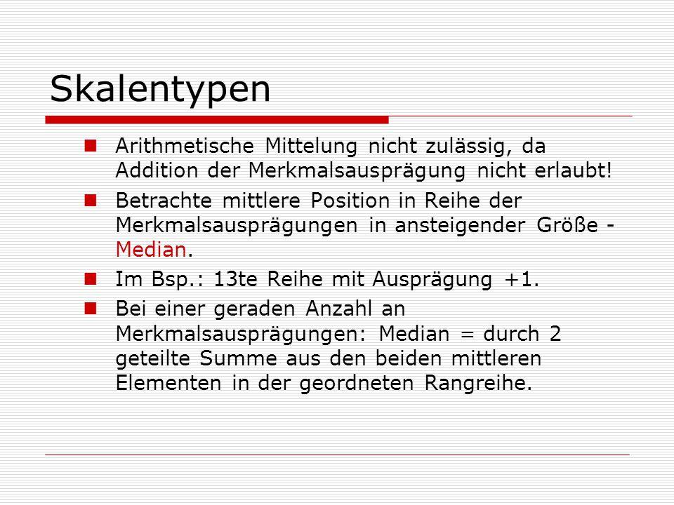 Skalentypen Arithmetische Mittelung nicht zulässig, da Addition der Merkmalsausprägung nicht erlaubt! Betrachte mittlere Position in Reihe der Merkmal