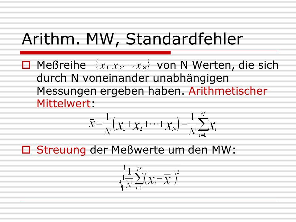 Arithm. MW, Standardfehler  Meßreihe von N Werten, die sich durch N voneinander unabhängigen Messungen ergeben haben. Arithmetischer Mittelwert:  St