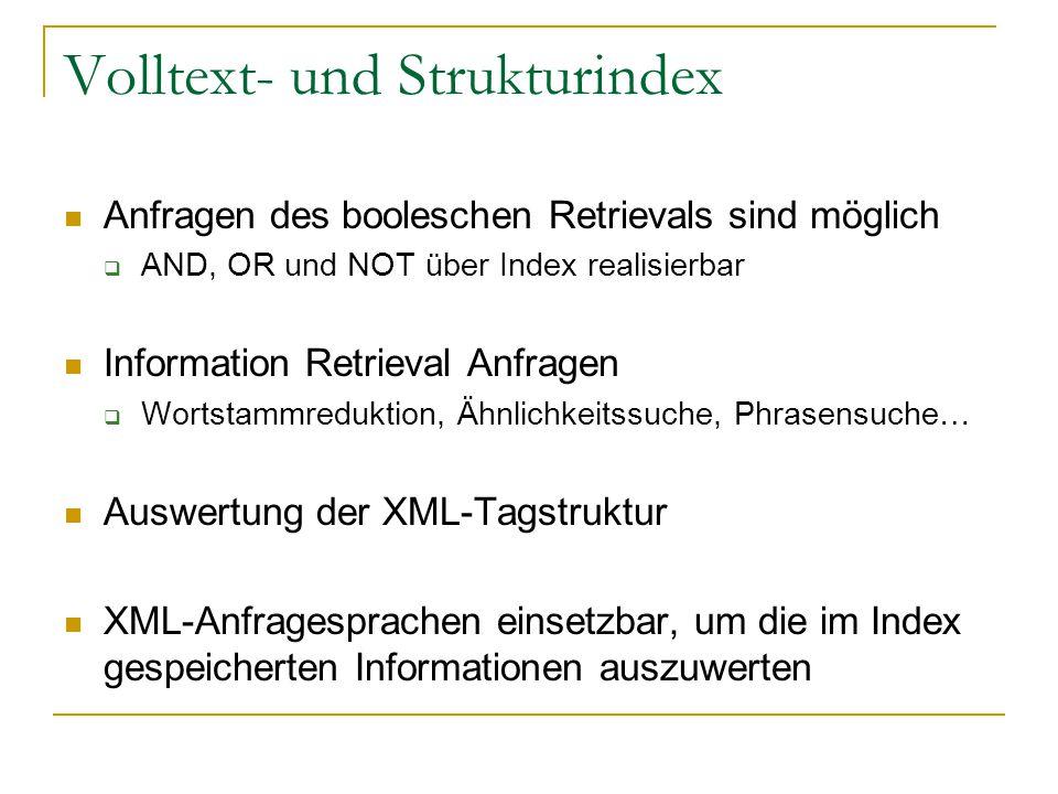Volltext- und Strukturindex Anfragen des booleschen Retrievals sind möglich  AND, OR und NOT über Index realisierbar Information Retrieval Anfragen  Wortstammreduktion, Ähnlichkeitssuche, Phrasensuche… Auswertung der XML-Tagstruktur XML-Anfragesprachen einsetzbar, um die im Index gespeicherten Informationen auszuwerten