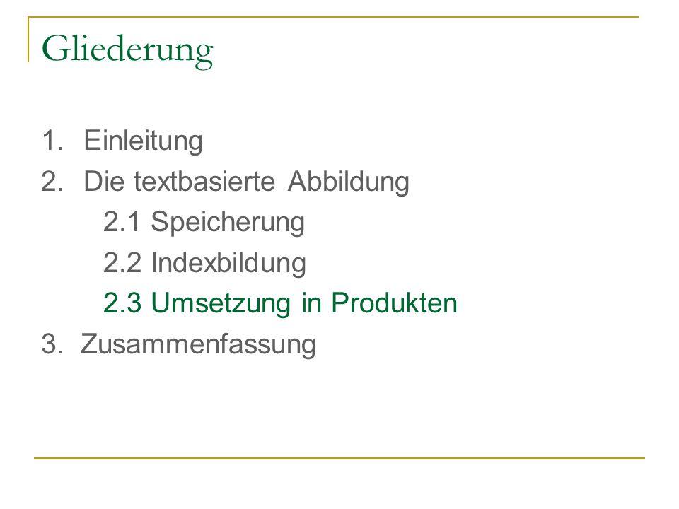 Gliederung 1.Einleitung 2.Die textbasierte Abbildung 2.1 Speicherung 2.2 Indexbildung 2.3 Umsetzung in Produkten 3.