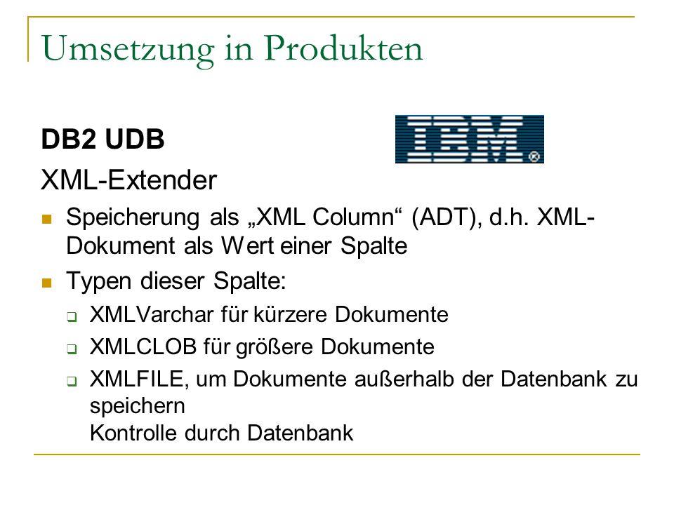 """Umsetzung in Produkten DB2 UDB XML-Extender Speicherung als """"XML Column (ADT), d.h."""