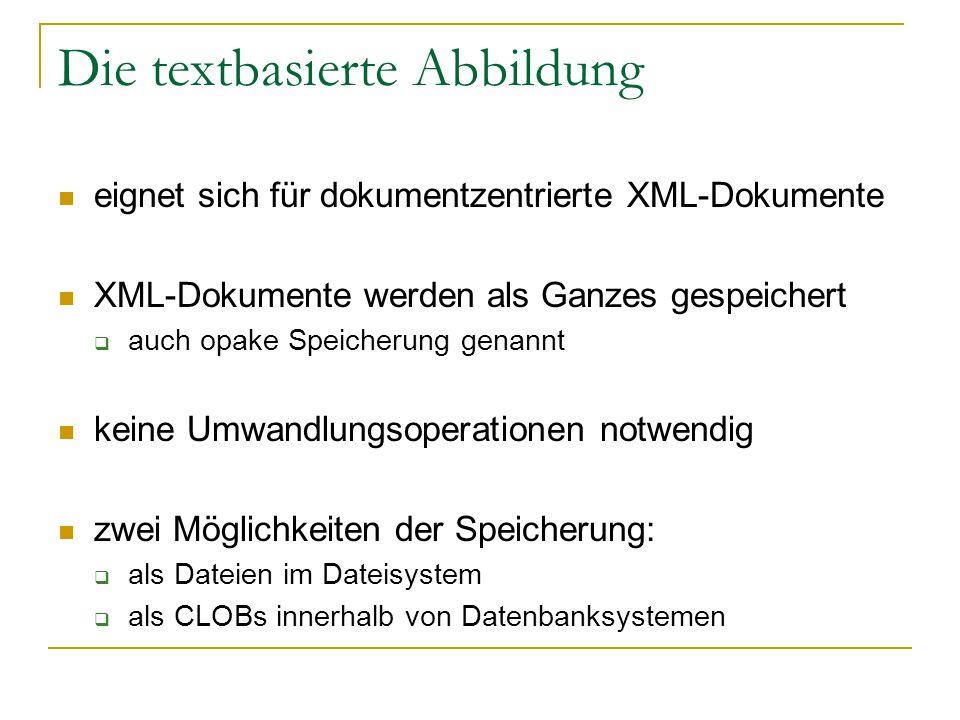 Die textbasierte Abbildung eignet sich für dokumentzentrierte XML-Dokumente XML-Dokumente werden als Ganzes gespeichert  auch opake Speicherung genannt keine Umwandlungsoperationen notwendig zwei Möglichkeiten der Speicherung:  als Dateien im Dateisystem  als CLOBs innerhalb von Datenbanksystemen