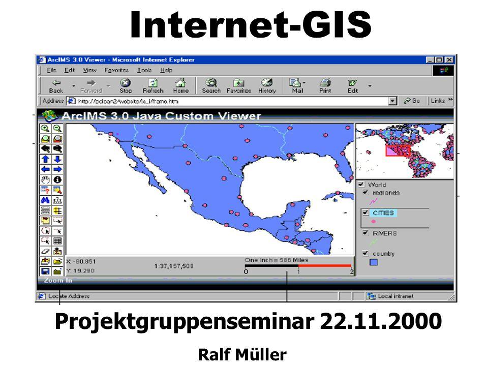 Einige Beispiele z GML Visualisierung mit Java GML Visualisierung mit Java http://www.ccg.leeds.ac.uk/geotools/demos/gml/ z Karte mit Javaskript Karte mit Javaskript http://maps7.esri.com/website/cityofwilson_htmlviewer z Karte als reine HTML Version Karte als reine HTML Version http://speedmap.ga-bonn.de/Bonn/karte-logo.html