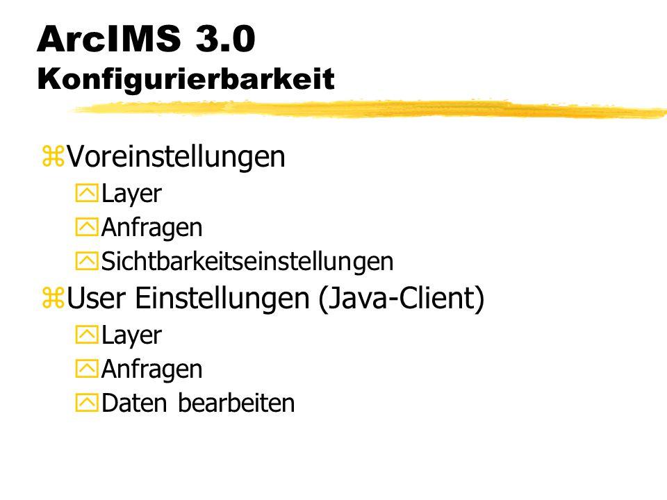 ArcIMS 3.0 Datenimport zImport aller gängigen Formate der Esri- Produktfamilie yShapefiles yCoverages yArcSDE Alle in ArcInfo importierbaren Daten stehen zur Verfügung