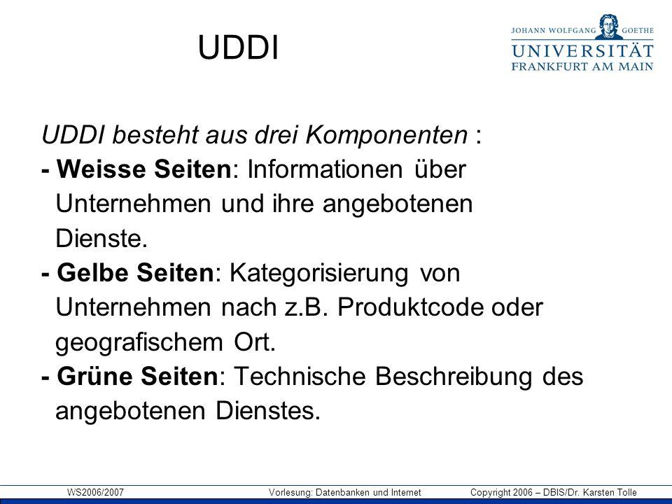 WS2006/2007 Vorlesung: Datenbanken und Internet Copyright 2006 – DBIS/Dr.