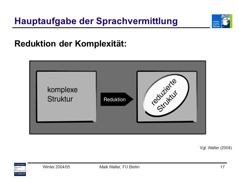 Winter 2004/05Maik Walter, FU Berlin17 Hauptaufgabe der Sprachvermittlung Reduktion der Komplexität: Vgl. Walter (2004)