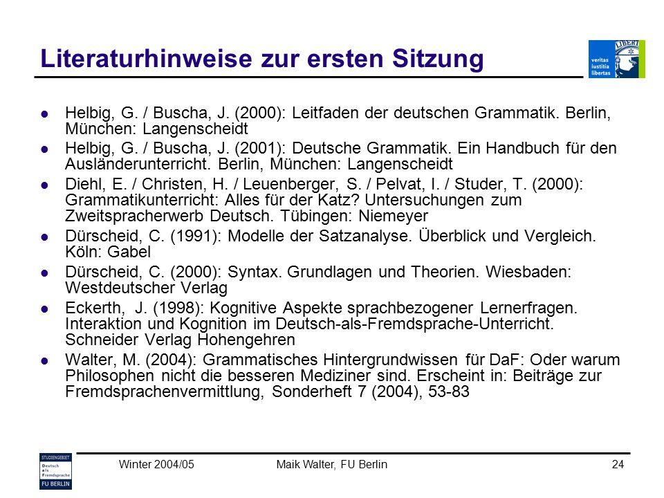 Winter 2004/05Maik Walter, FU Berlin24 Literaturhinweise zur ersten Sitzung Helbig, G. / Buscha, J. (2000): Leitfaden der deutschen Grammatik. Berlin,