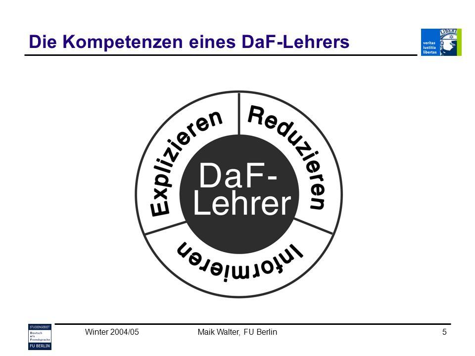 Winter 2004/05Maik Walter, FU Berlin16 Kurzer Zwischenhalt Um komplexe Phänomene (zB die Pluralbildung oder die Wortstellung) zu vermitteln, benötigt der DaF-Lehrer ein Hintergrundwissen über die sprachlichen Phänomene, dieses Wissen muss er auch – auf verständliche Weise – explizieren können.