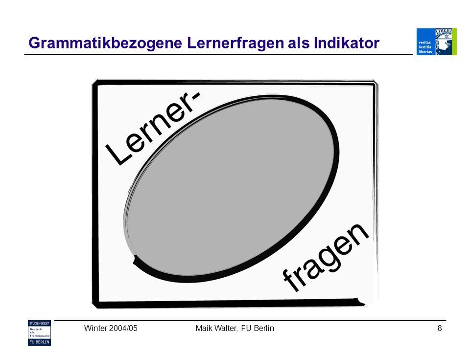 Winter 2004/05Maik Walter, FU Berlin9 Grammatikbezogene Lernerfragen als Indikator Um Lernerfragen als Sprachstands- indikatoren nutzen zu können, ist ein breites (und tiefes) linguistisches Hintergrundwissen notwendig (Beispiel Pluralbildung).