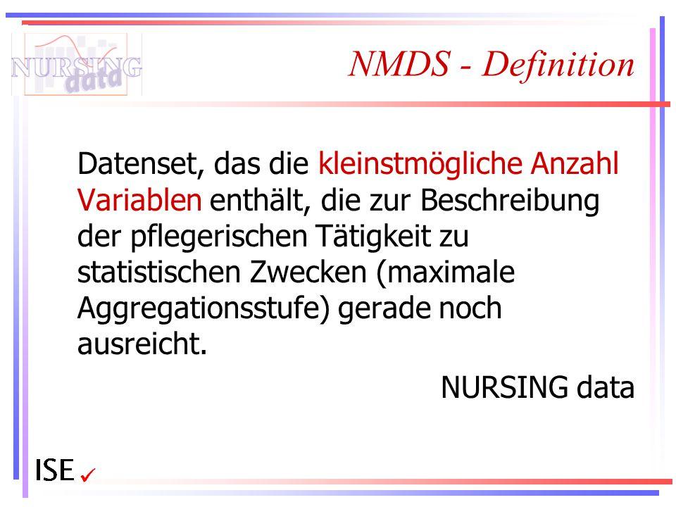 NMDS - Definition Datenset, das die kleinstmögliche Anzahl Variablen enthält, die zur Beschreibung der pflegerischen Tätigkeit zu statistischen Zwecke