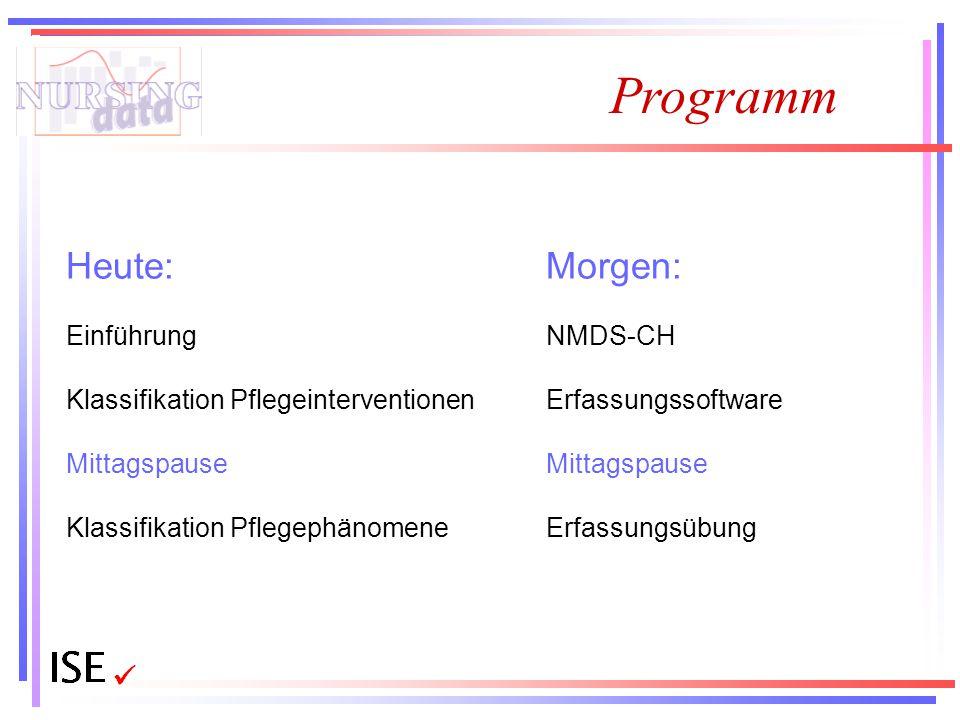 Programm Heute: Einführung Klassifikation Pflegeinterventionen Mittagspause Klassifikation Pflegephänomene Morgen: NMDS-CH Erfassungssoftware Mittagsp
