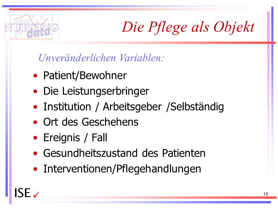 Die Pflege als Objekt Patient/Bewohner Die Leistungserbringer Institution / Arbeitsgeber /Selbständig Ort des Geschehens Ereignis / Fall Gesundheitszu