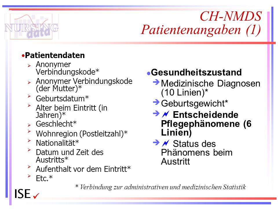 CH-NMDS Patientenangaben (1) Patientendaten  Anonymer Verbindungskode*  Anonymer Verbindungskode (der Mutter)* Geburtsdatum* Alter beim Eintritt (