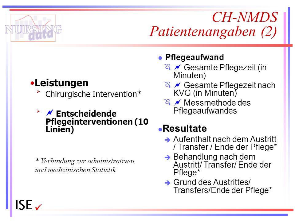 CH-NMDS Patientenangaben (2) Leistungen Chirurgische Intervention*  Entscheidende Pflegeinterventionen (10 Linien) l Pflegeaufwand  Gesamte Pfleg