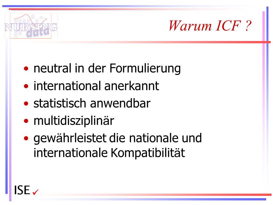 Warum ICF ? neutral in der Formulierung international anerkannt statistisch anwendbar multidisziplin ä r gew ä hrleistet die nationale und internation
