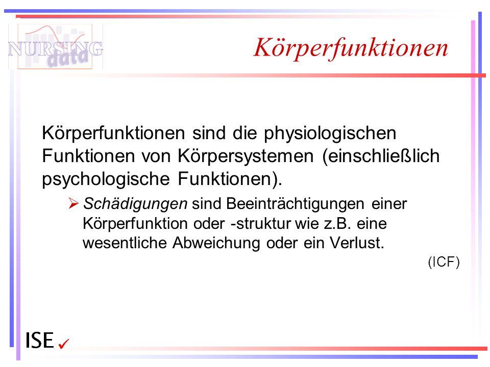 Körperfunktionen Körperfunktionen sind die physiologischen Funktionen von Körpersystemen (einschließlich psychologische Funktionen).  Schädigungen si