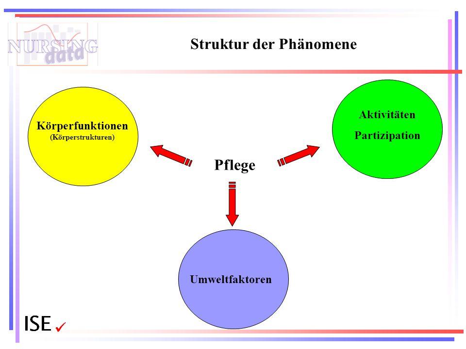 Struktur der Phänomene Körperfunktionen (Körperstrukturen) Aktivitäten Partizipation Umweltfaktoren Pflege