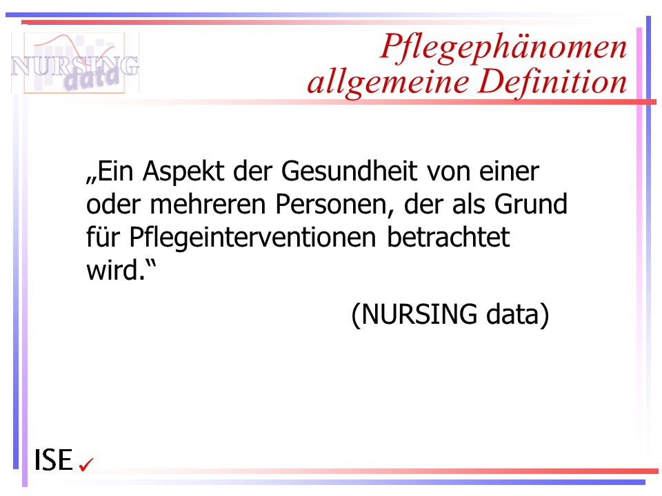 """Pflegephänomen allgemeine Definition """"Ein Aspekt der Gesundheit von einer oder mehreren Personen, der als Grund für Pflegeinterventionen betrachtet wi"""