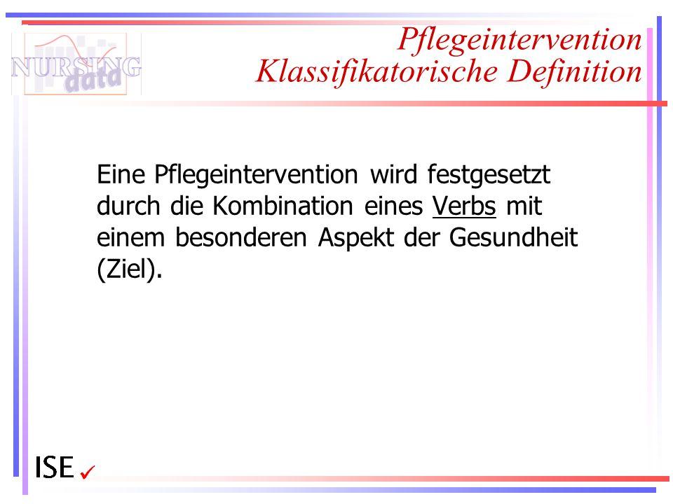 Pflegeintervention Klassifikatorische Definition Eine Pflegeintervention wird festgesetzt durch die Kombination eines Verbs mit einem besonderen Aspek
