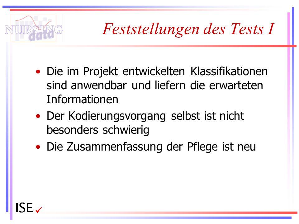 Feststellungen des Tests I Die im Projekt entwickelten Klassifikationen sind anwendbar und liefern die erwarteten Informationen Der Kodierungsvorgang