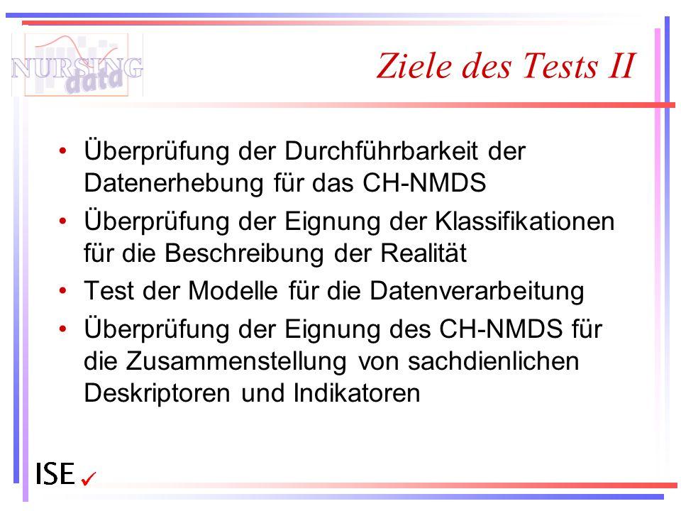 Ziele des Tests II Überprüfung der Durchführbarkeit der Datenerhebung für das CH-NMDS Überprüfung der Eignung der Klassifikationen für die Beschreibun