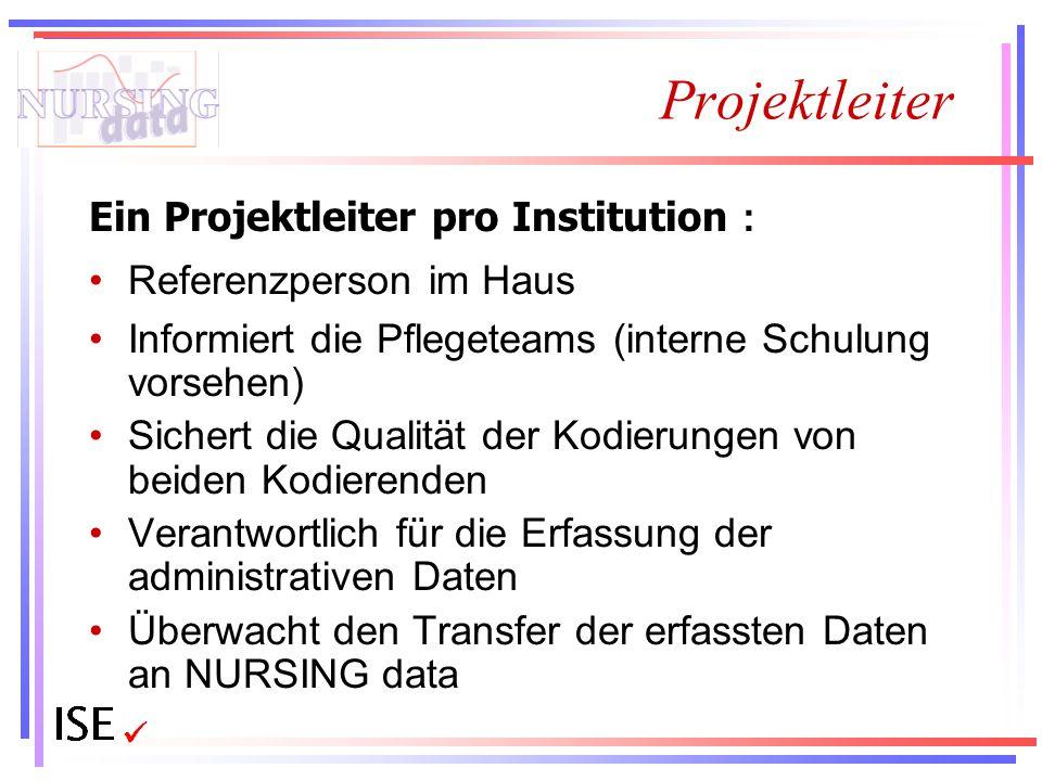 Projektleiter Ein Projektleiter pro Institution : Referenzperson im Haus Informiert die Pflegeteams (interne Schulung vorsehen) Sichert die Qualität d