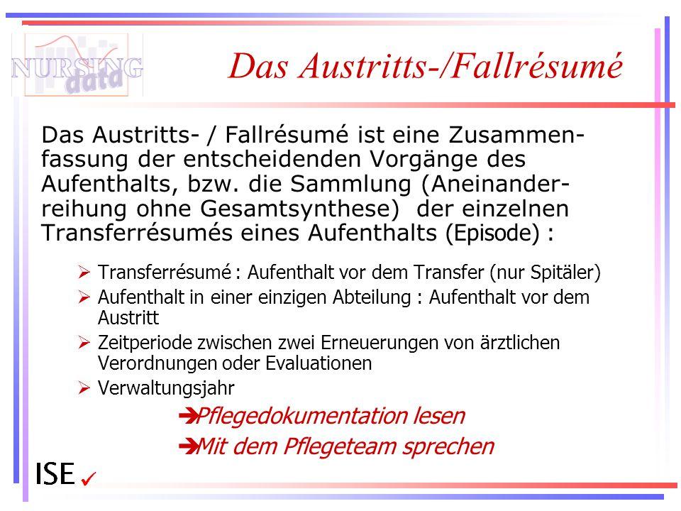 Das Austritts-/Fallrésumé Das Austritts- / Fallrésumé ist eine Zusammen- fassung der entscheidenden Vorgänge des Aufenthalts, bzw. die Sammlung (Anein