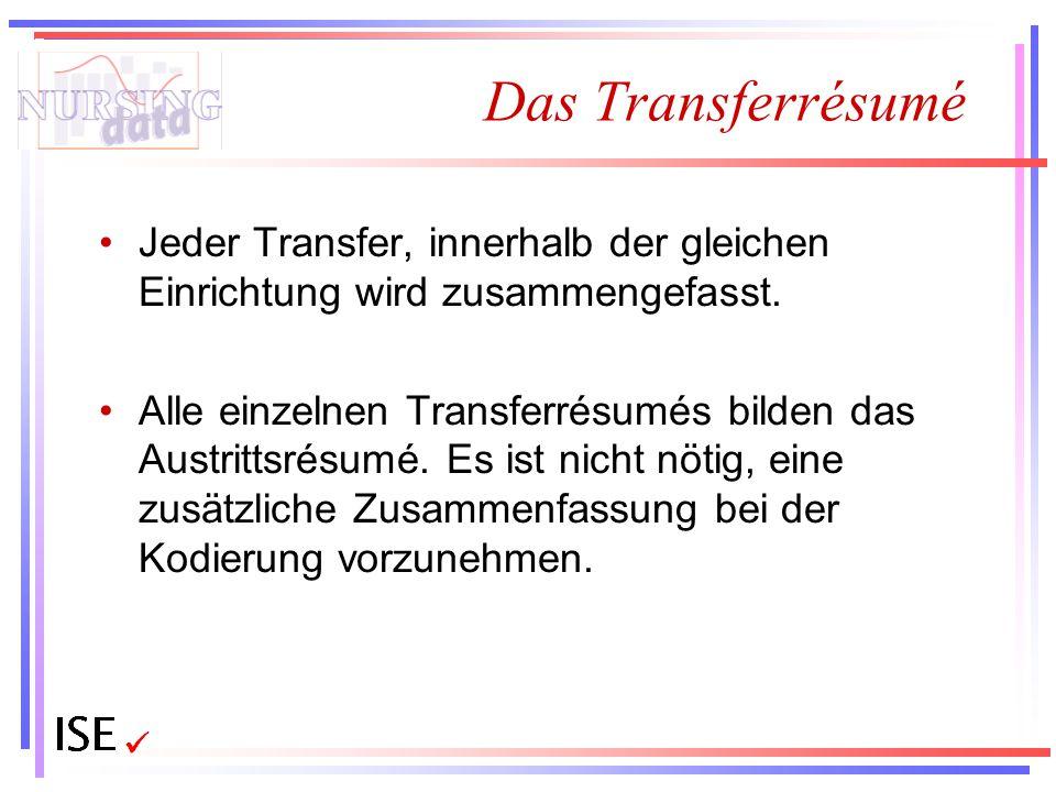 Das Transferrésumé Jeder Transfer, innerhalb der gleichen Einrichtung wird zusammengefasst. Alle einzelnen Transferrésumés bilden das Austrittsrésumé.