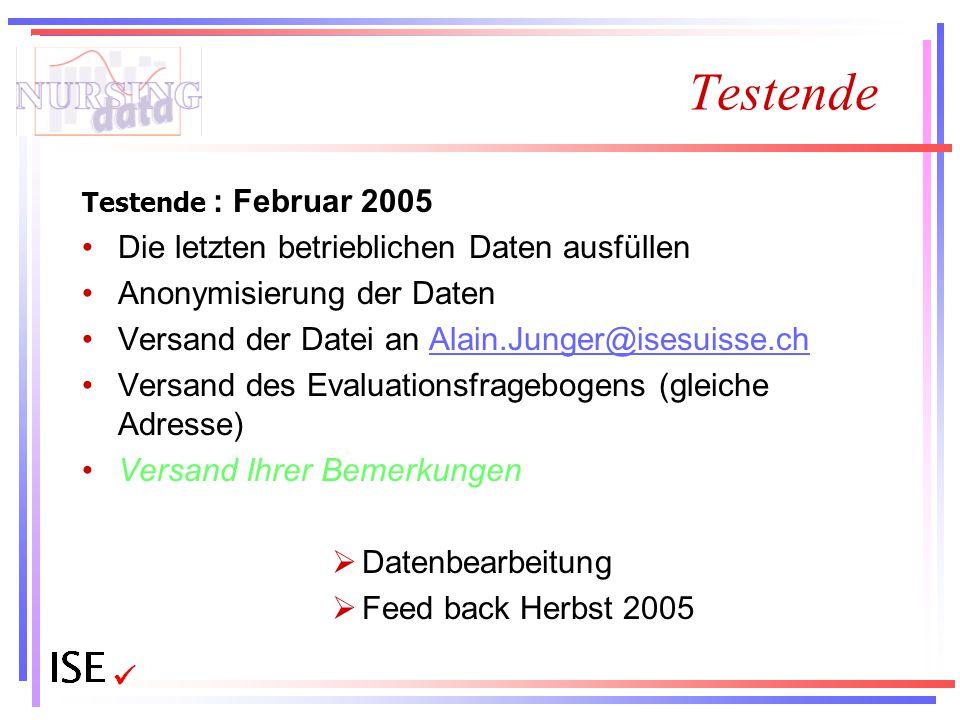 Testende Testende : Februar 2005 Die letzten betrieblichen Daten ausfüllen Anonymisierung der Daten Versand der Datei an Alain.Junger@isesuisse.chAlai
