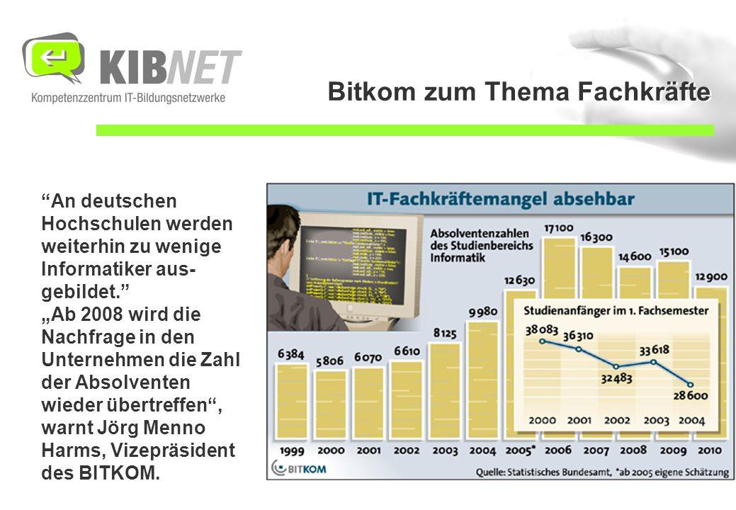 """Bitkom zum Thema Fachkräfte An deutschen Hochschulen werden weiterhin zu wenige Informatiker aus- gebildet. """"Ab 2008 wird die Nachfrage in den Unternehmen die Zahl der Absolventen wieder übertreffen , warnt Jörg Menno Harms, Vizepräsident des BITKOM."""
