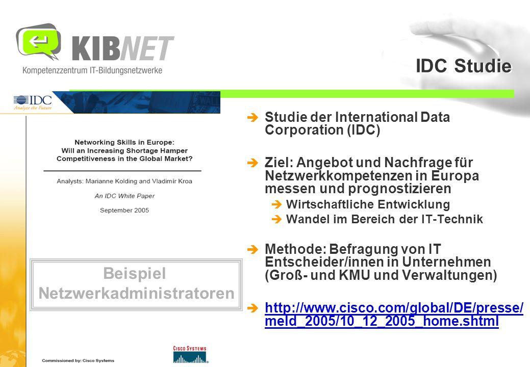 IDC Studie Beispiel Netzwerkadministratoren  Studie der International Data Corporation (IDC)  Ziel: Angebot und Nachfrage für Netzwerkkompetenzen in Europa messen und prognostizieren  Wirtschaftliche Entwicklung  Wandel im Bereich der IT-Technik  Methode: Befragung von IT Entscheider/innen in Unternehmen (Groß- und KMU und Verwaltungen)  http://www.cisco.com/global/DE/presse/ meld_2005/10_12_2005_home.shtml http://www.cisco.com/global/DE/presse/ meld_2005/10_12_2005_home.shtml
