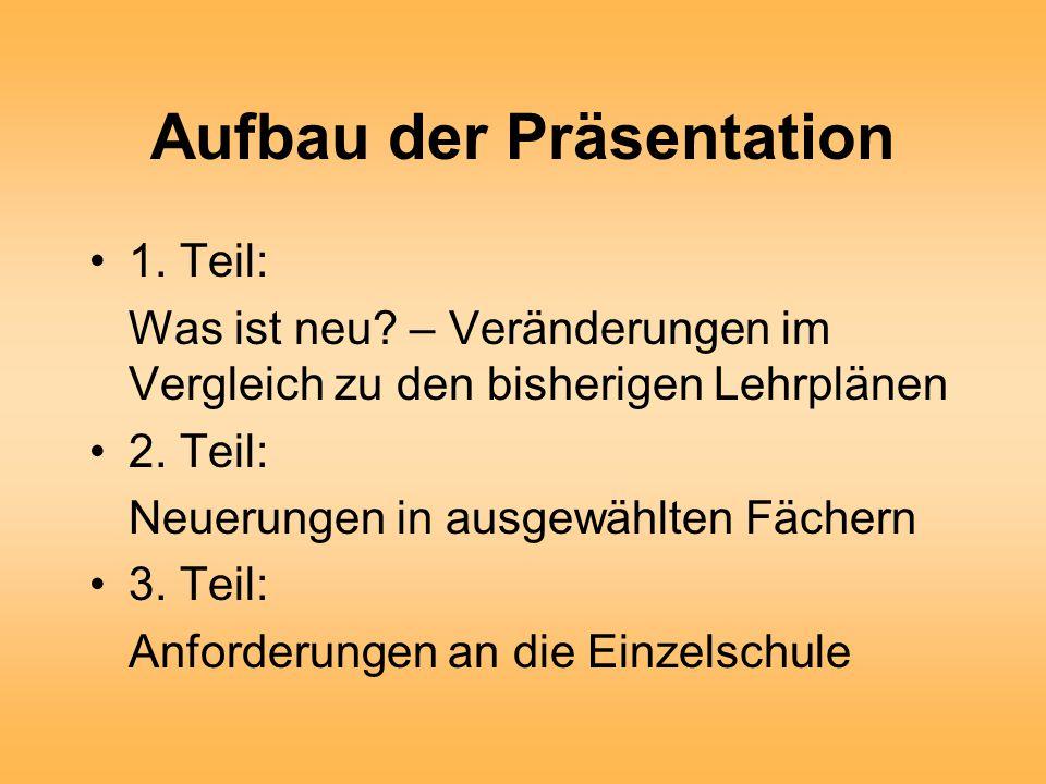 Aufbau der Präsentation 1. Teil: Was ist neu.
